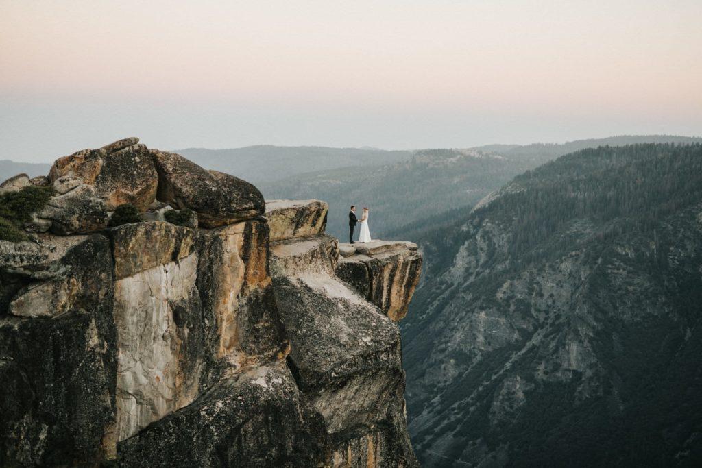 Bride and groom wide shot at Yosemite national park elopement