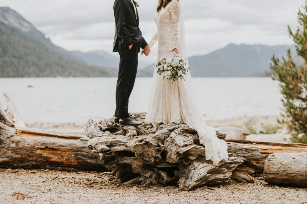 bride and groom standing on fallen trees