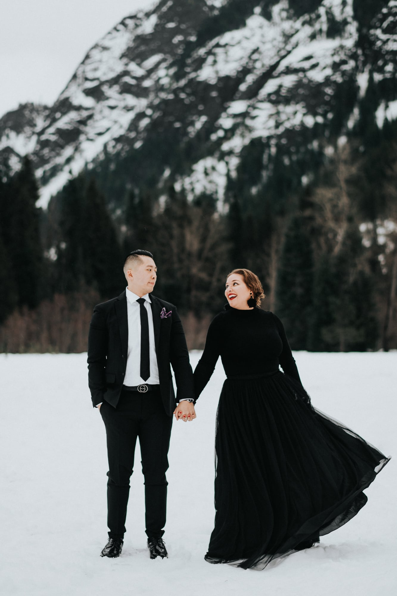 snowy engagement session at tall timber ranch