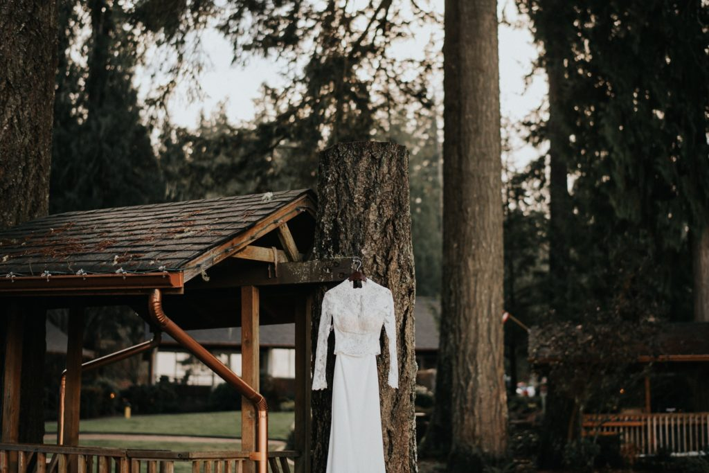 Wide shot of the dress hanging