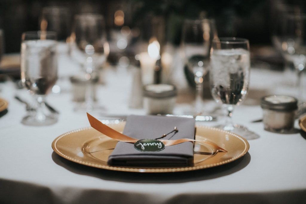 closeup of the table settings