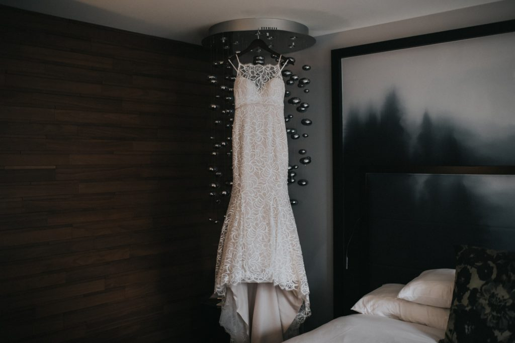 Dress hanging from ceiling