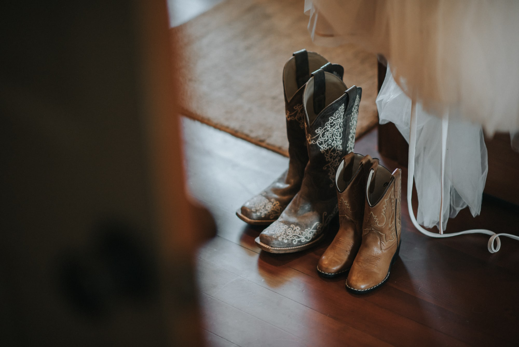 bride and daughters cowboy boots