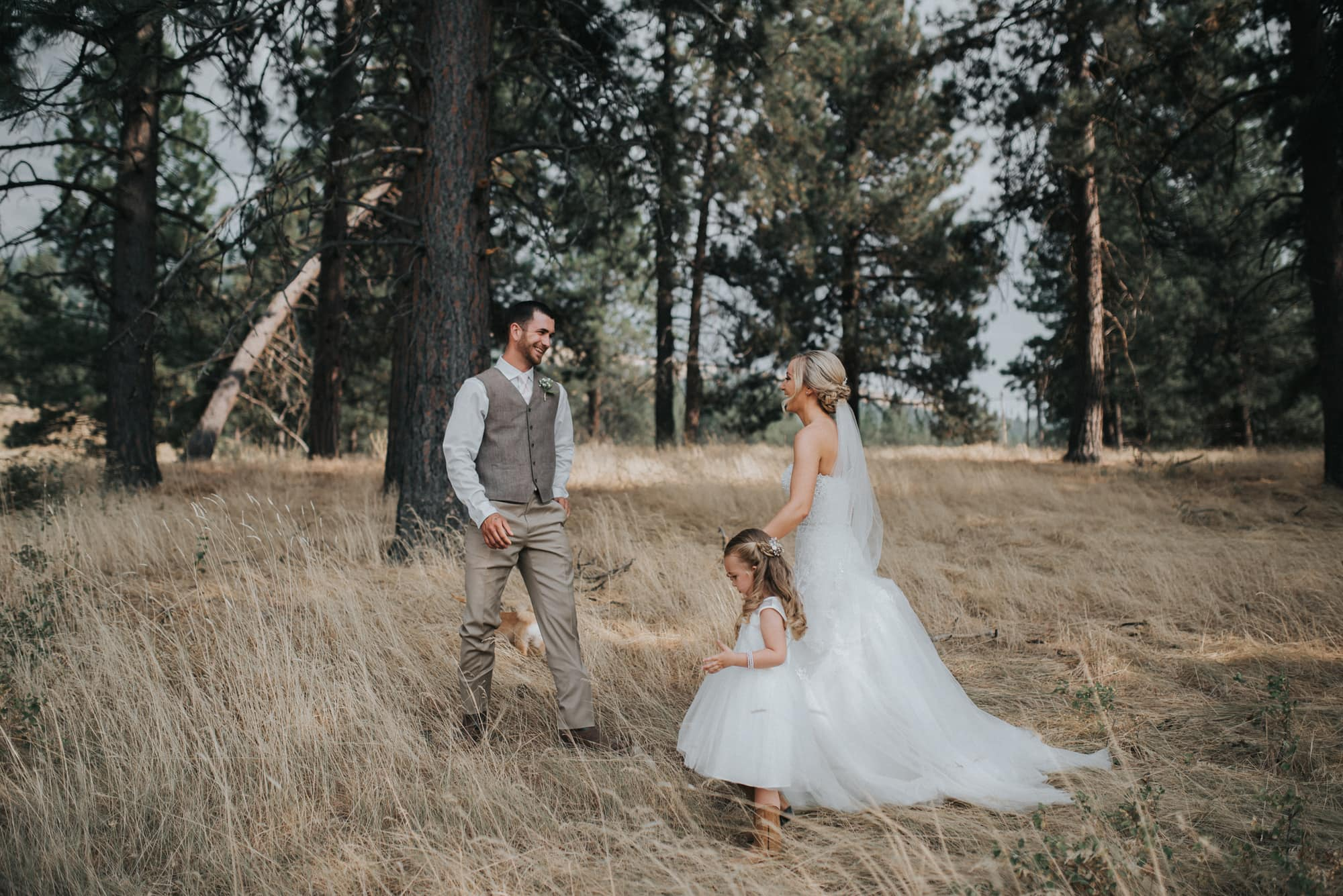 bride and grooms first look on the property at the cattle barn
