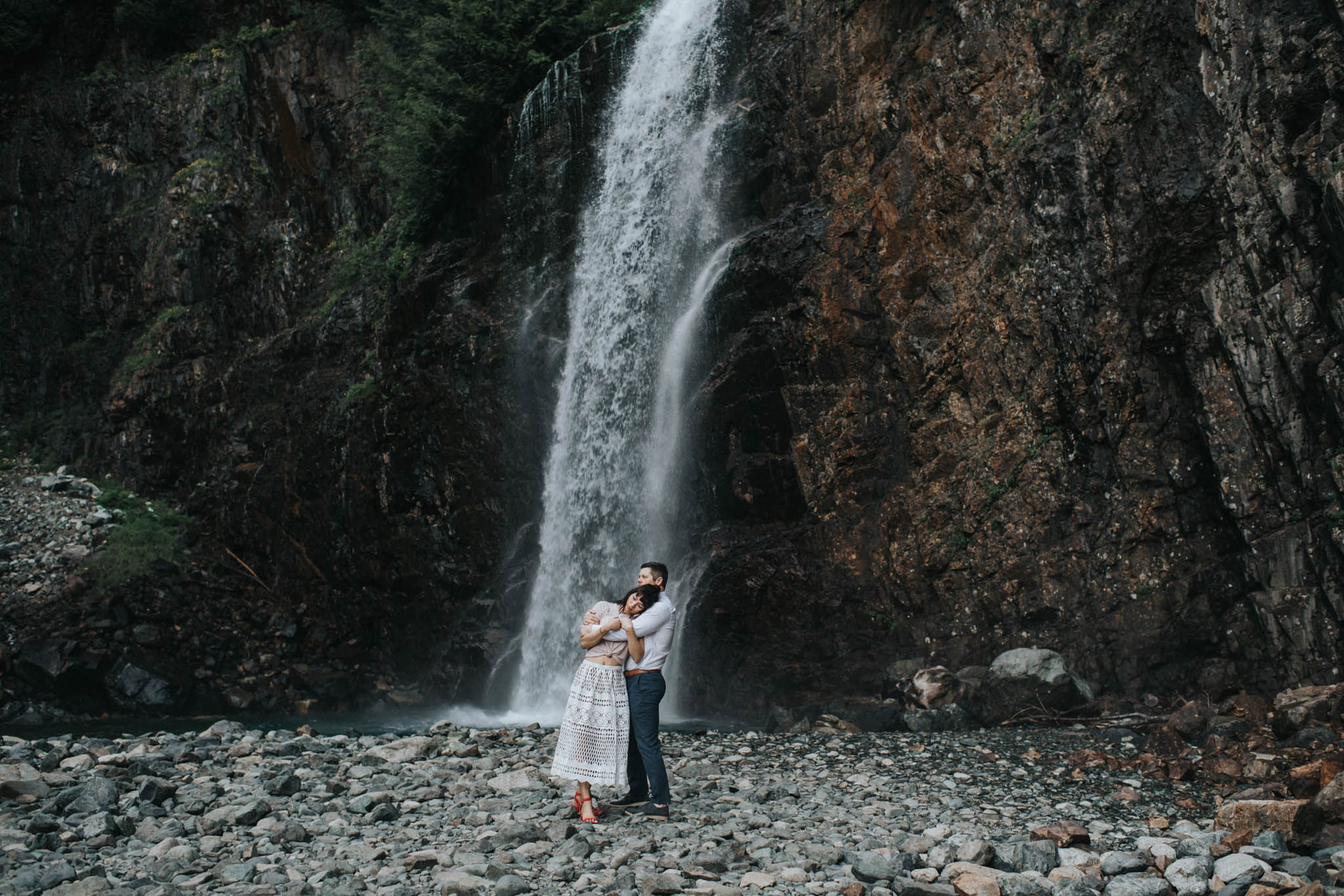 This is a photo of an adventurous couples engagement session at franklin falls in snoqualmie washington