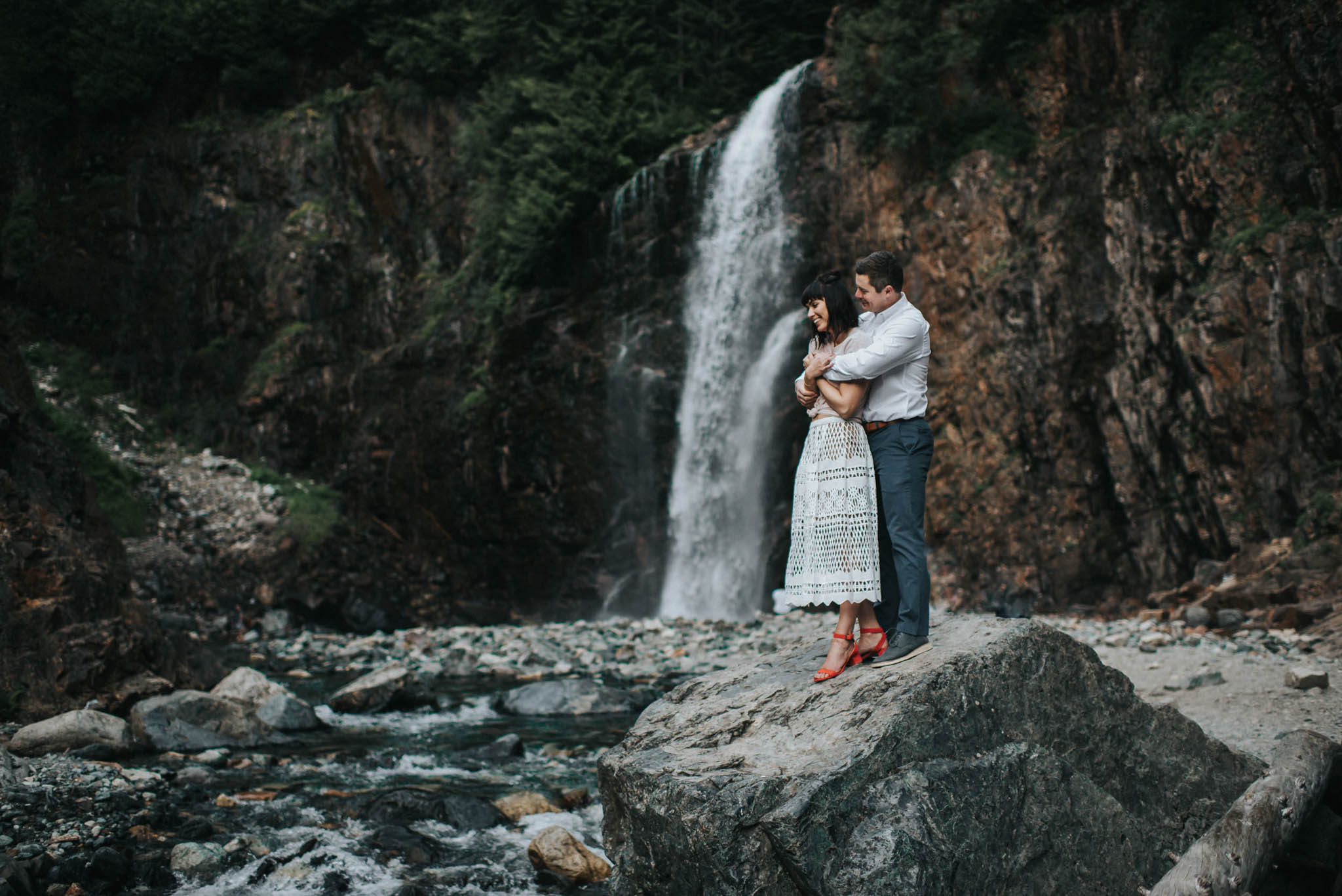 This photography is of a couple sharing a special moment under franklin falls