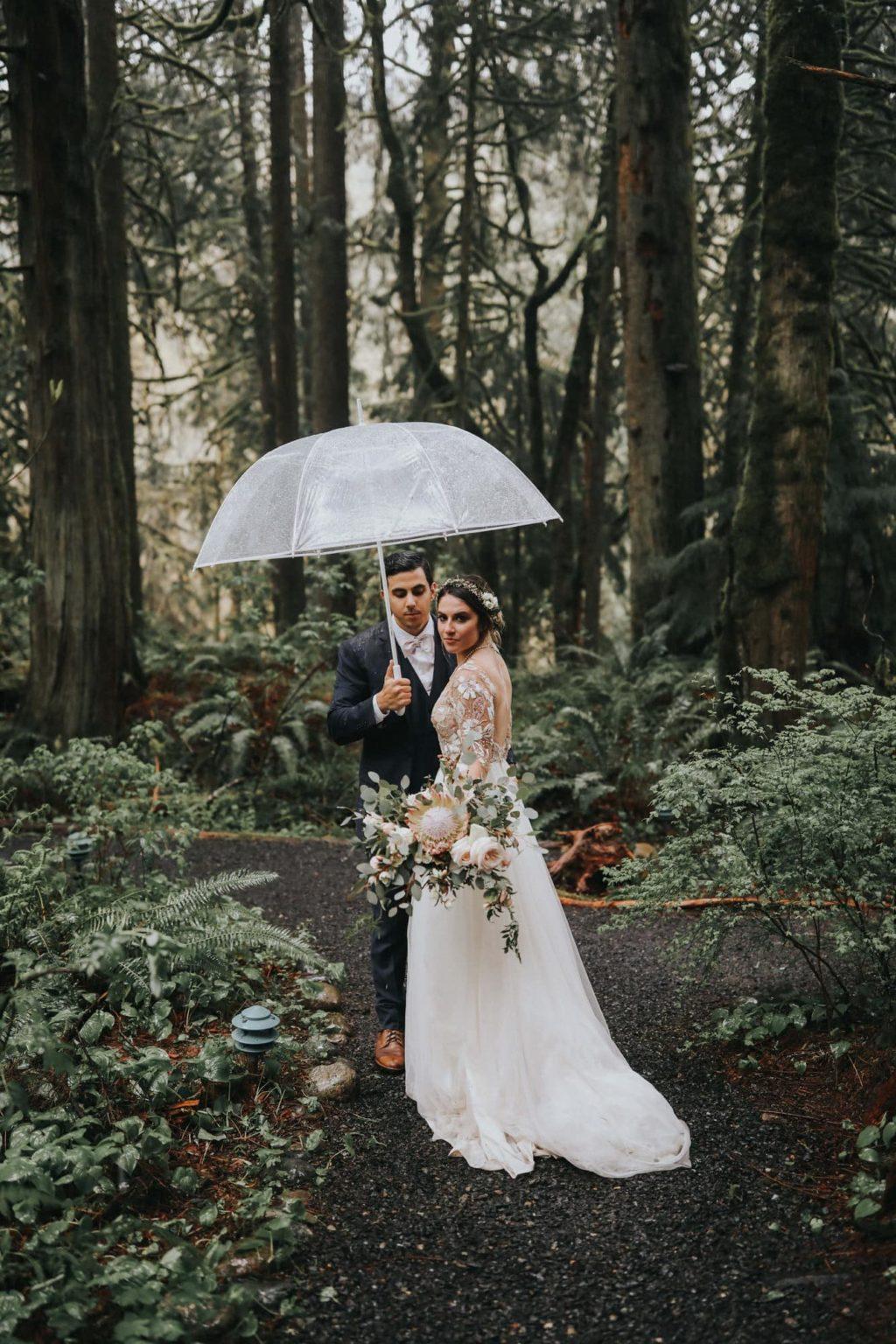 Bride looking over her shoulder in the rain