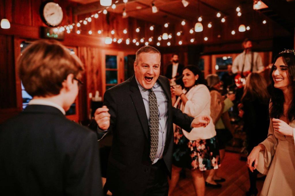 guest laughing at reception