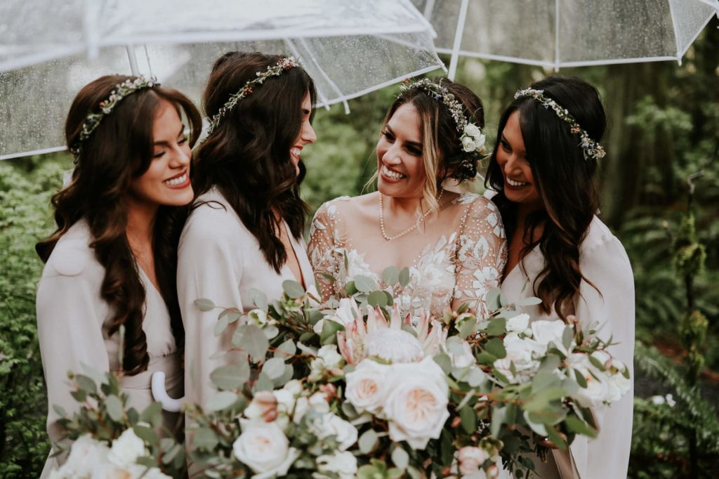closeup of the bridesmaids looking at the bride