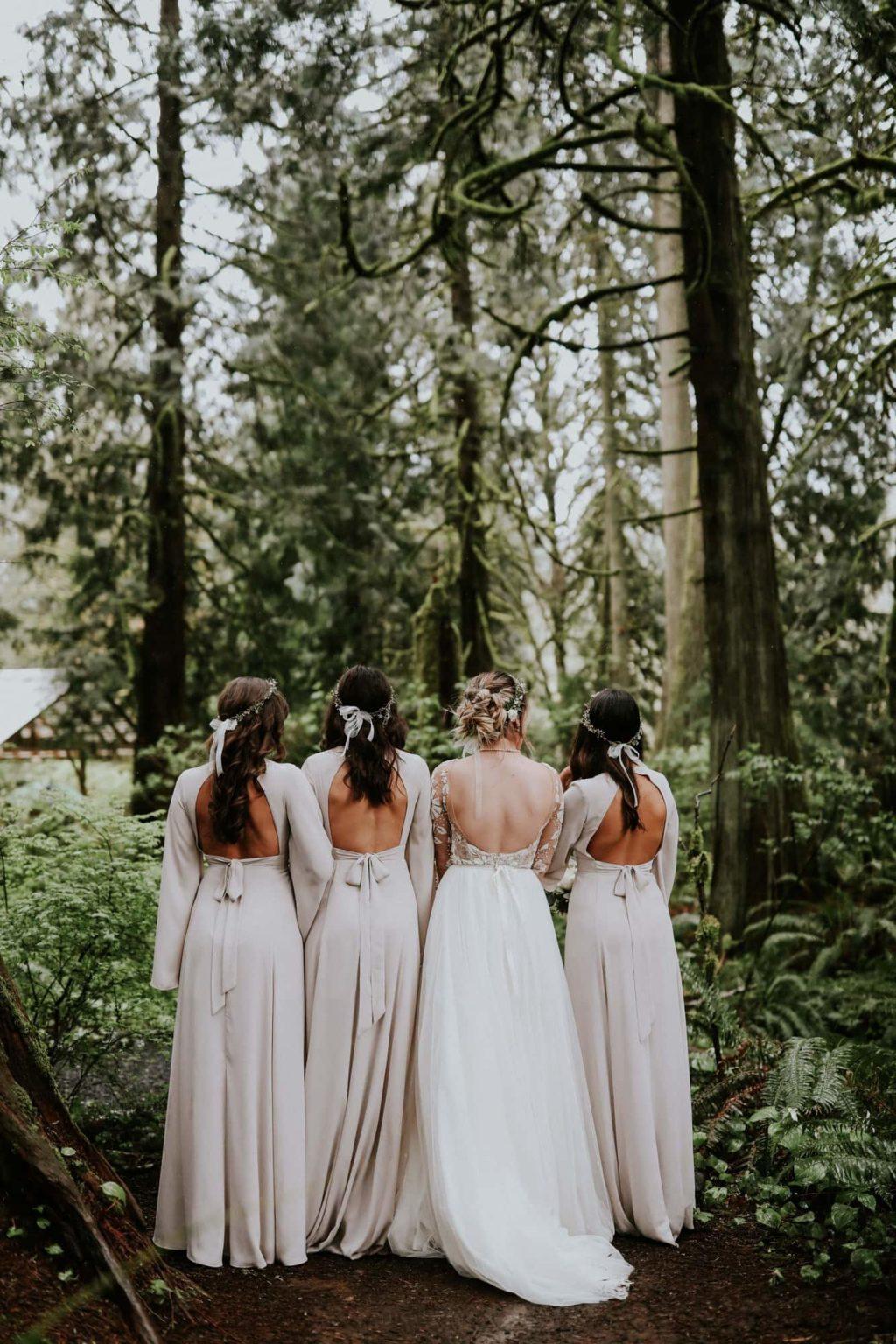 bridesmaids facing away from the camera