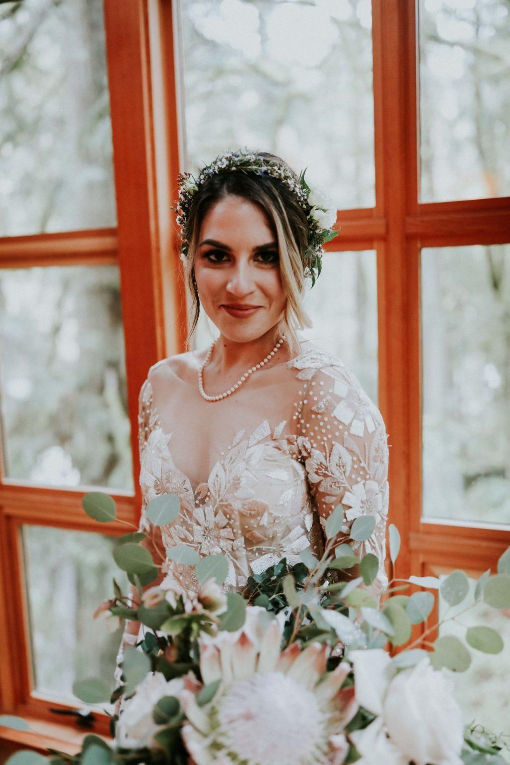 closeup of the bride looking at the camera