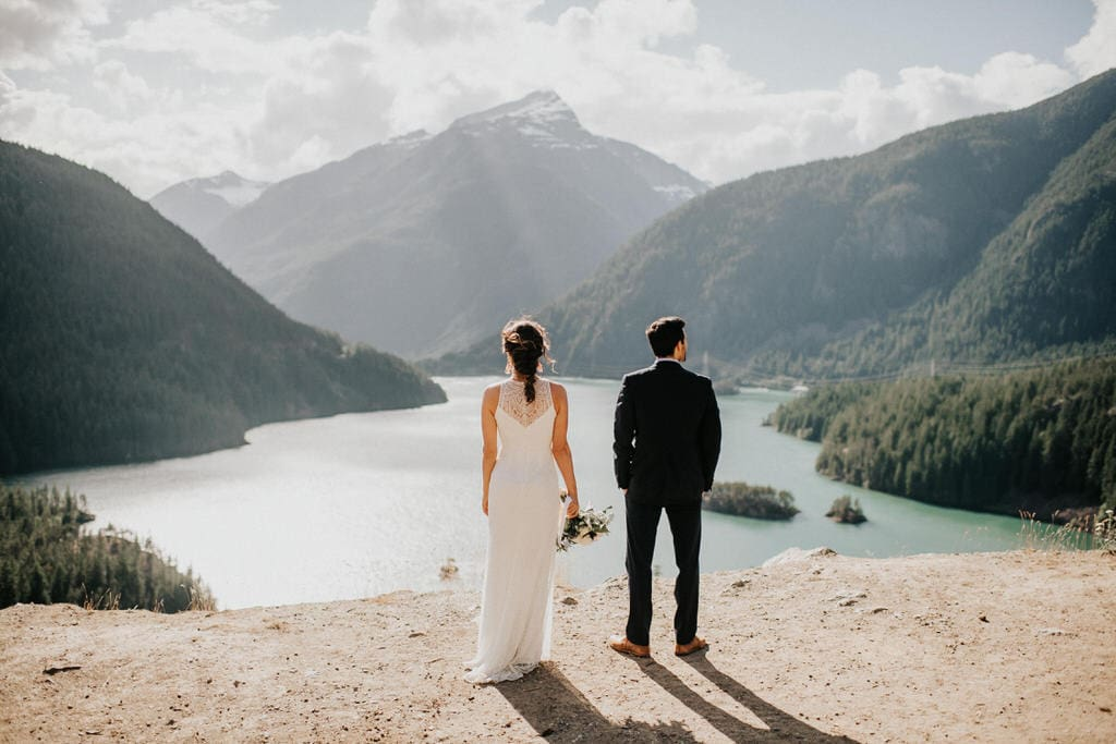bride and groom at Diablo Lake Lookout