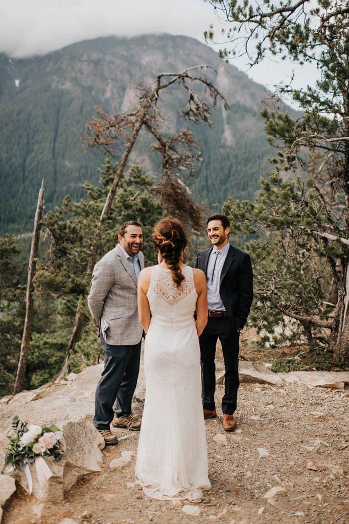 bride and groom getting married at diablo lake