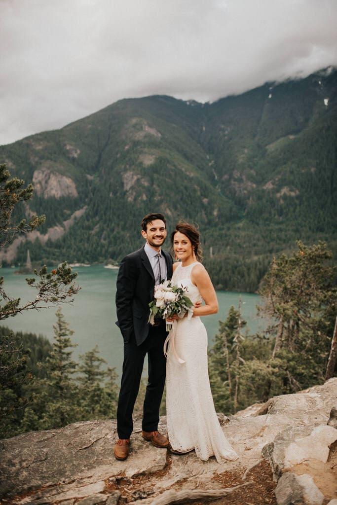 beautiful bride and groom portrait at diablo lake
