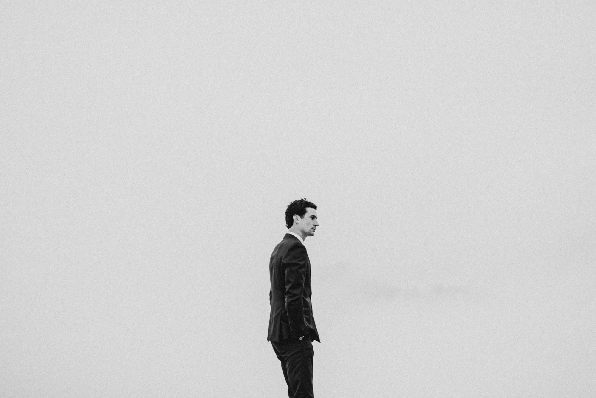 Groom waiting for bride at their north cascades intimate wedding