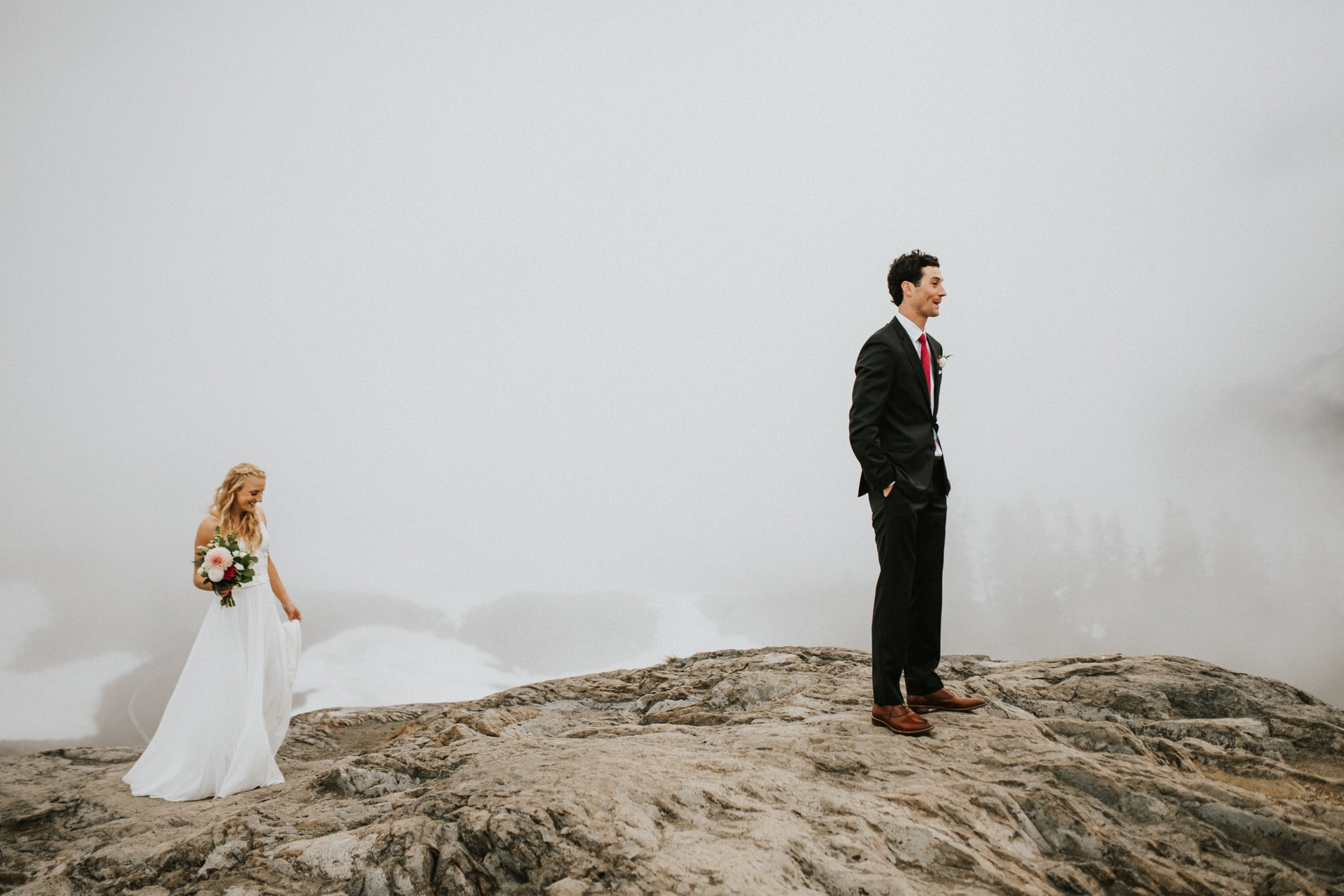 North Cascades Intimate Wedding first look