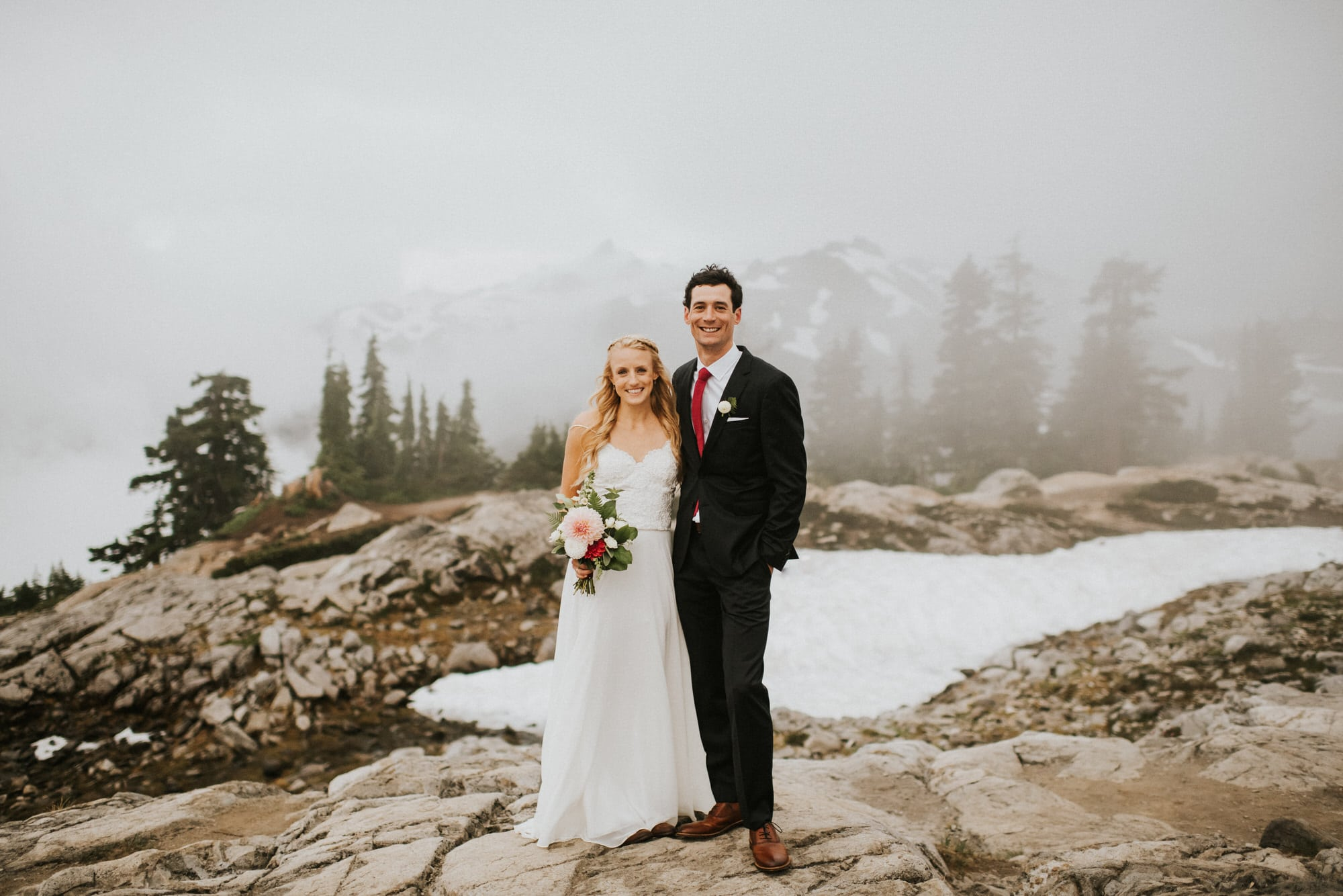 foggy artist point wedding photography