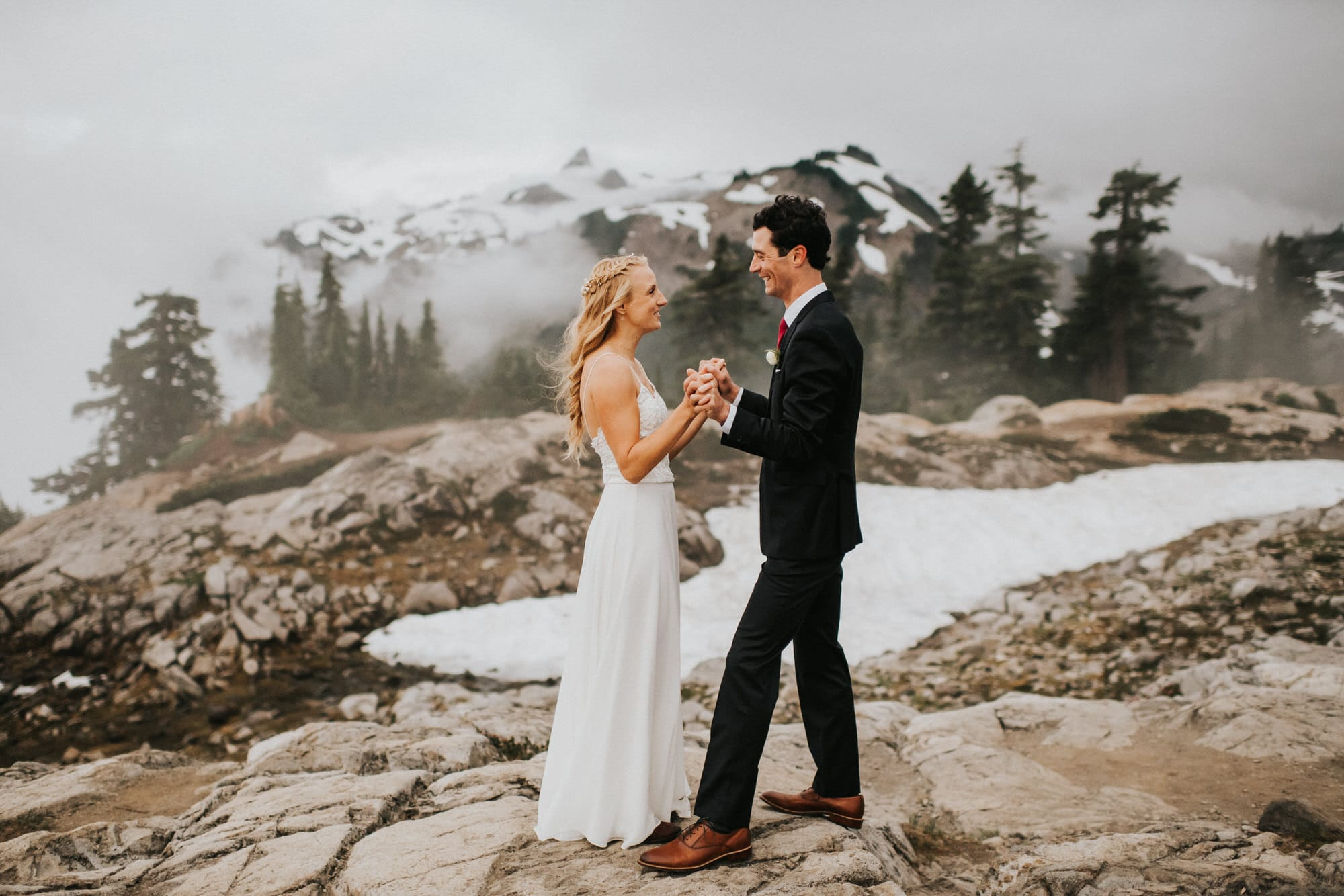 bride and groom together before North Cascades Intimate Wedding