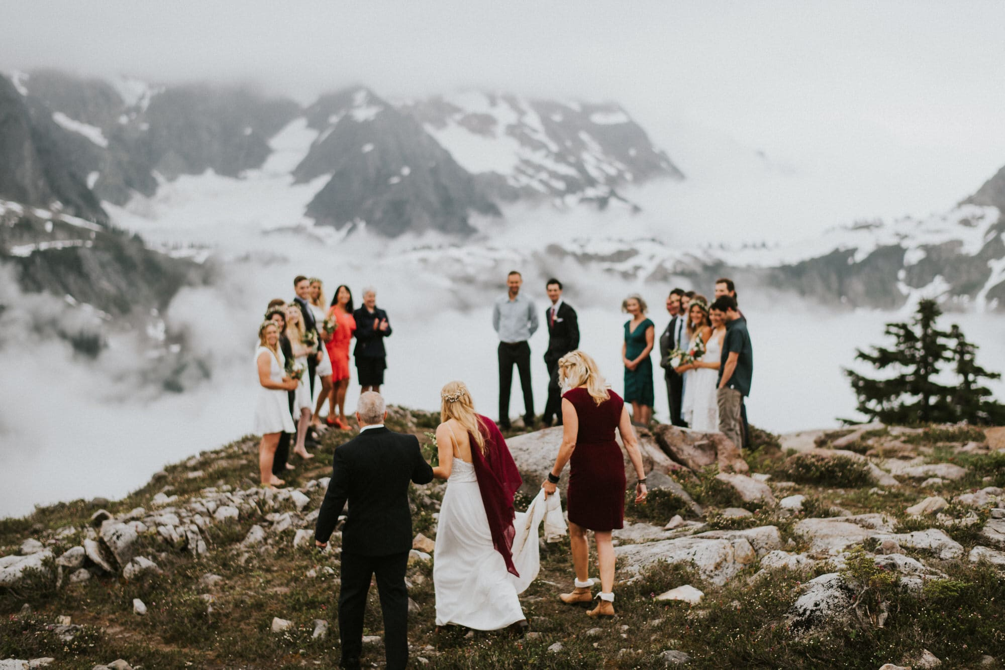 bride walking down aisle at her North Cascades Intimate Wedding