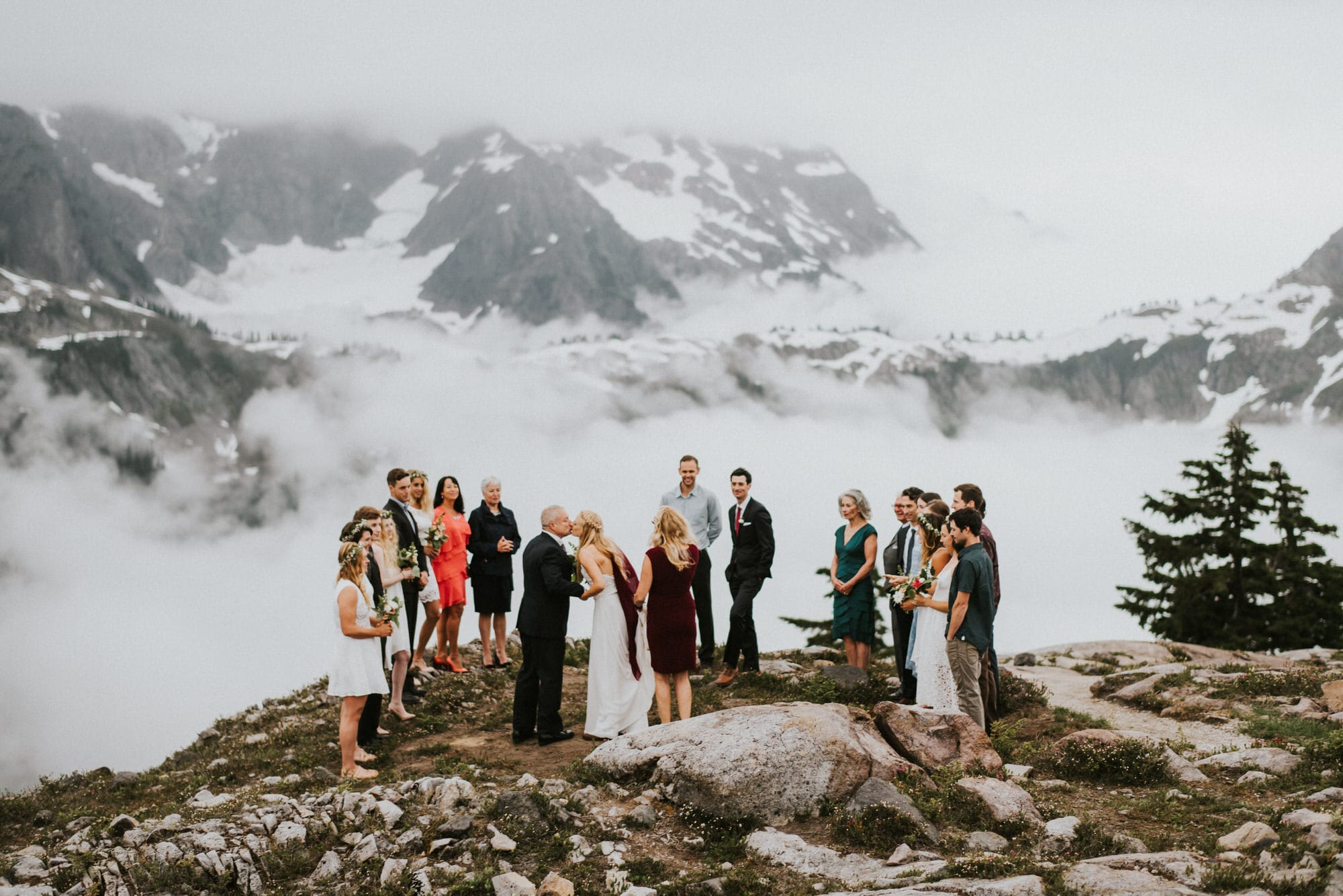 father of the bride handing off bride at North Cascades Intimate Wedding