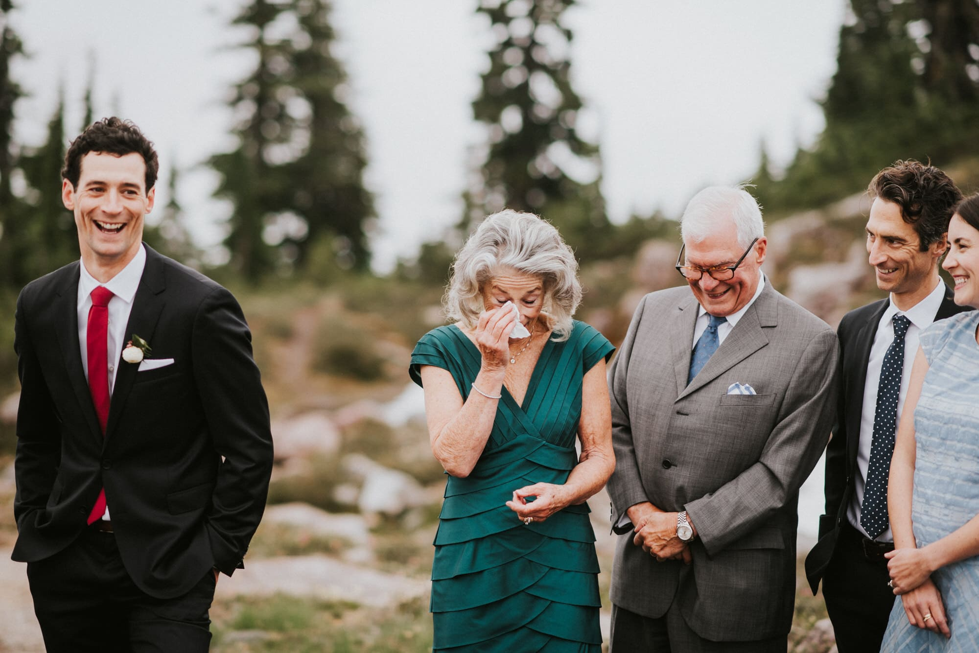 grooms mom crying during sons North Cascades Intimate Wedding