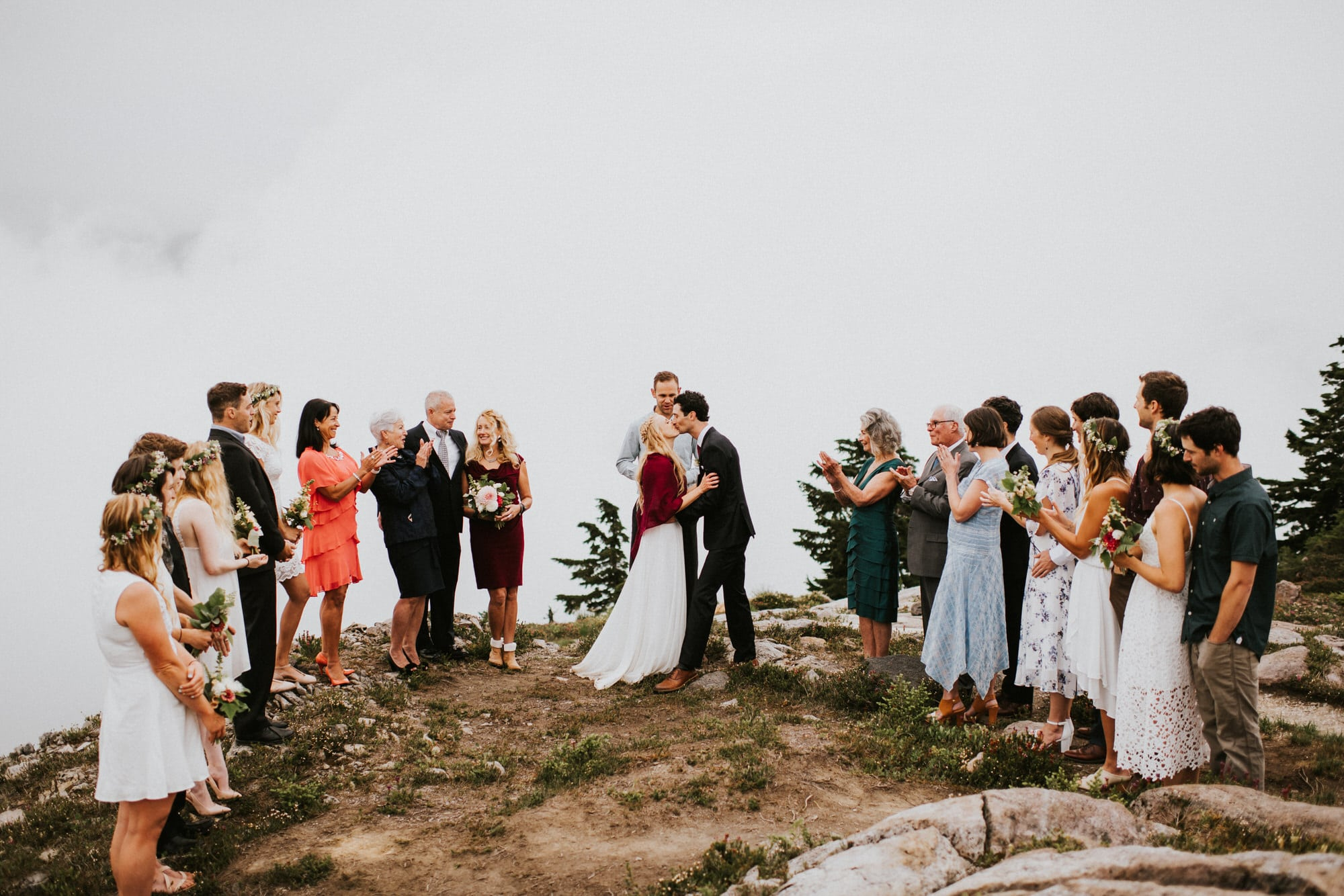 bride and groom first kiss at artist point elopement