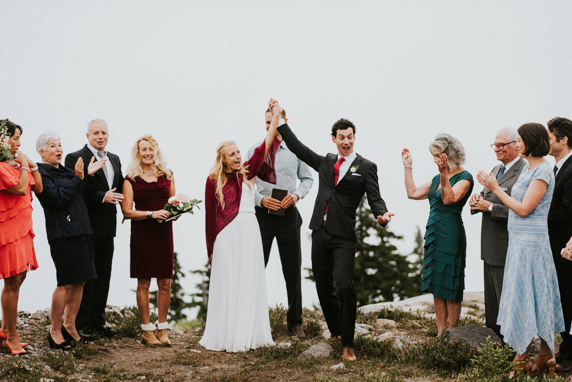 happy bride and groom at North Cascades Intimate Wedding