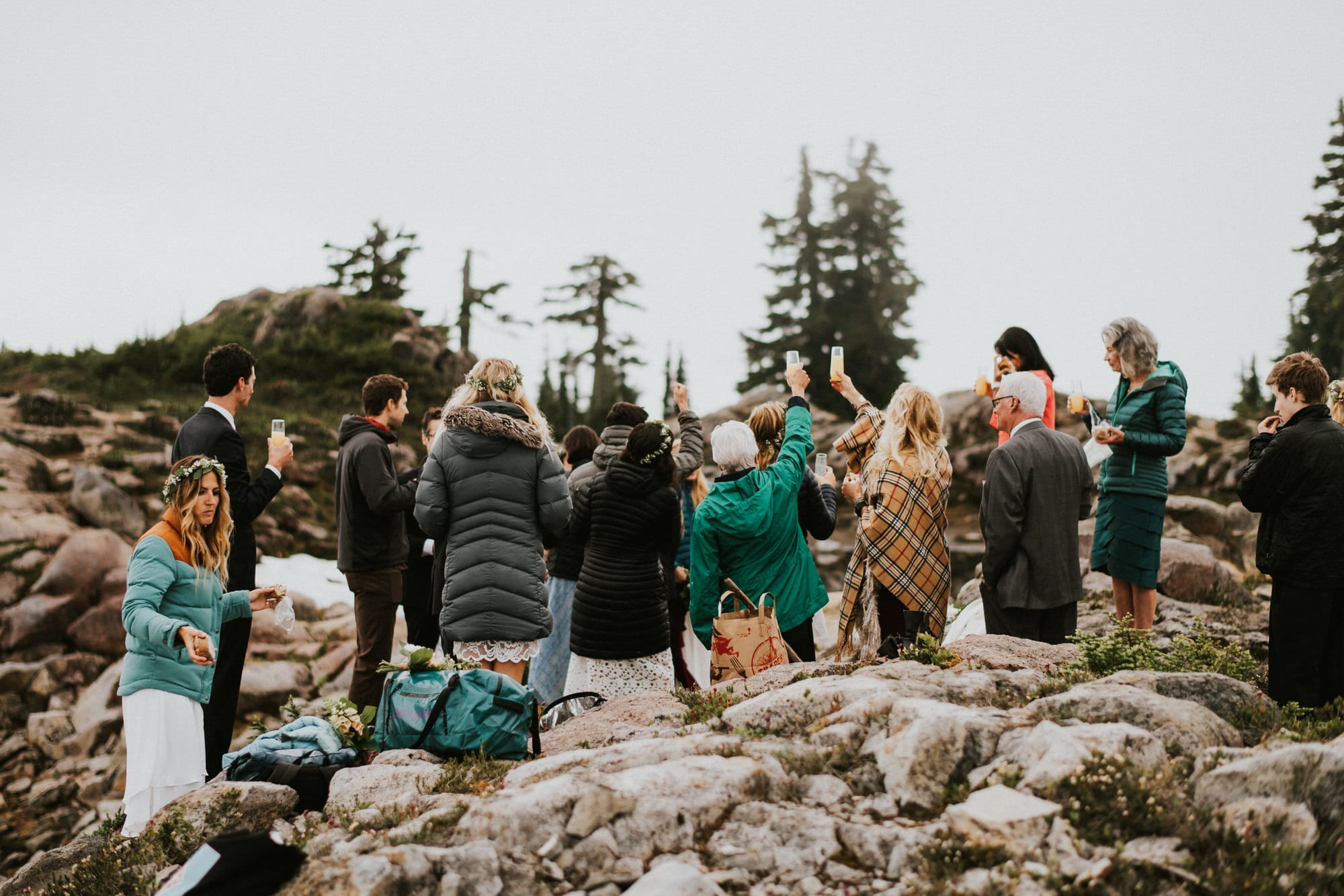 North Cascades Intimate Wedding wedding guest cheers