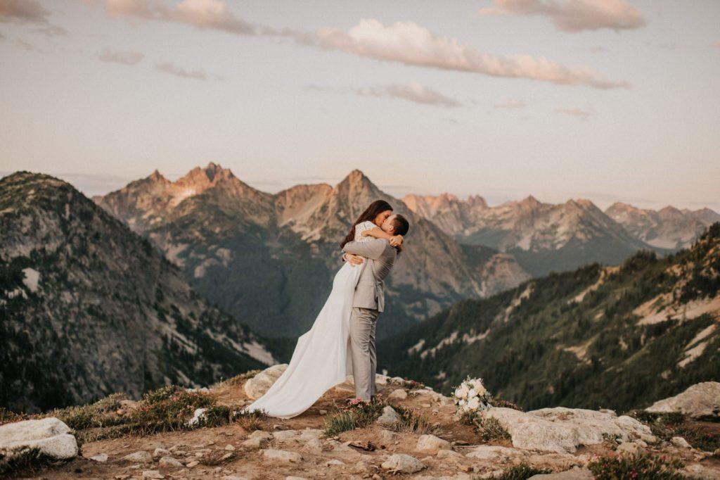 first kiss after north cascades elopement