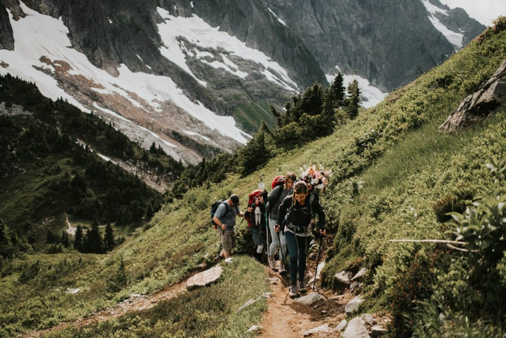 wedding party hiking in the north cascades of washington