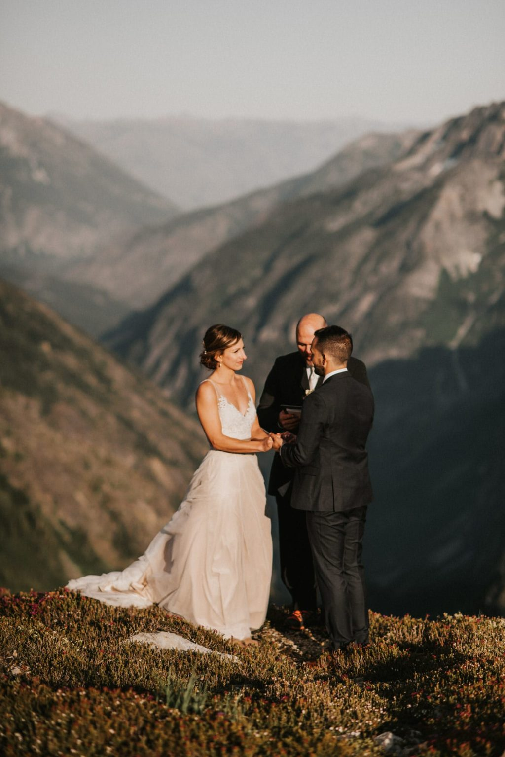 Vertical image from an epic North Cascades Adventure Wedding