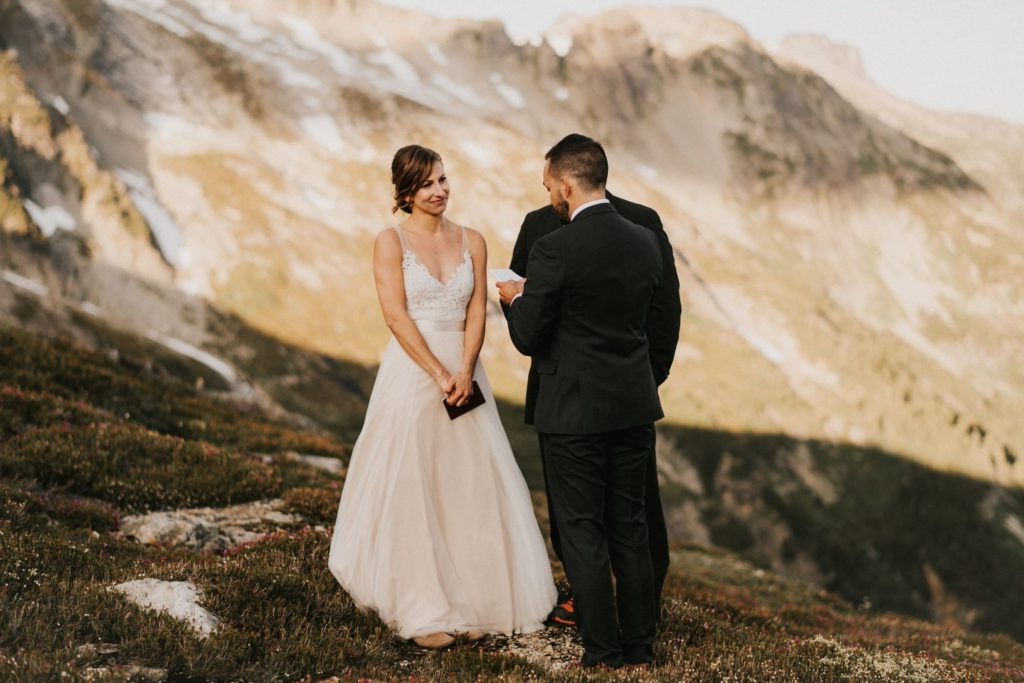 Washington mountain wedding ceremony