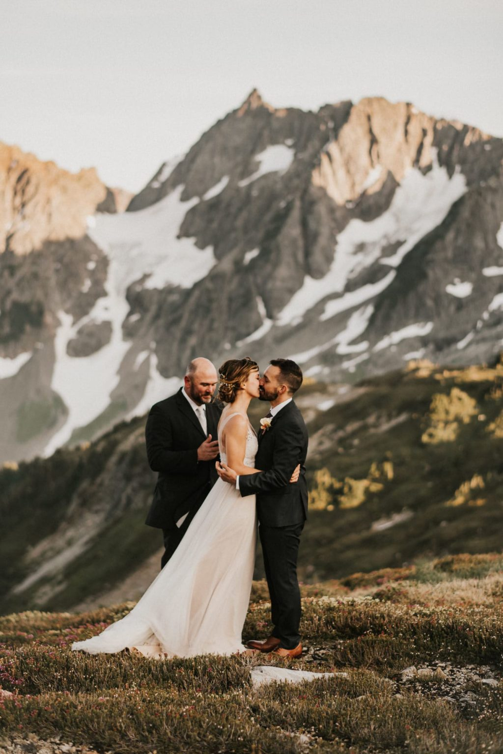 Bride and Groom first kiss of their elopement