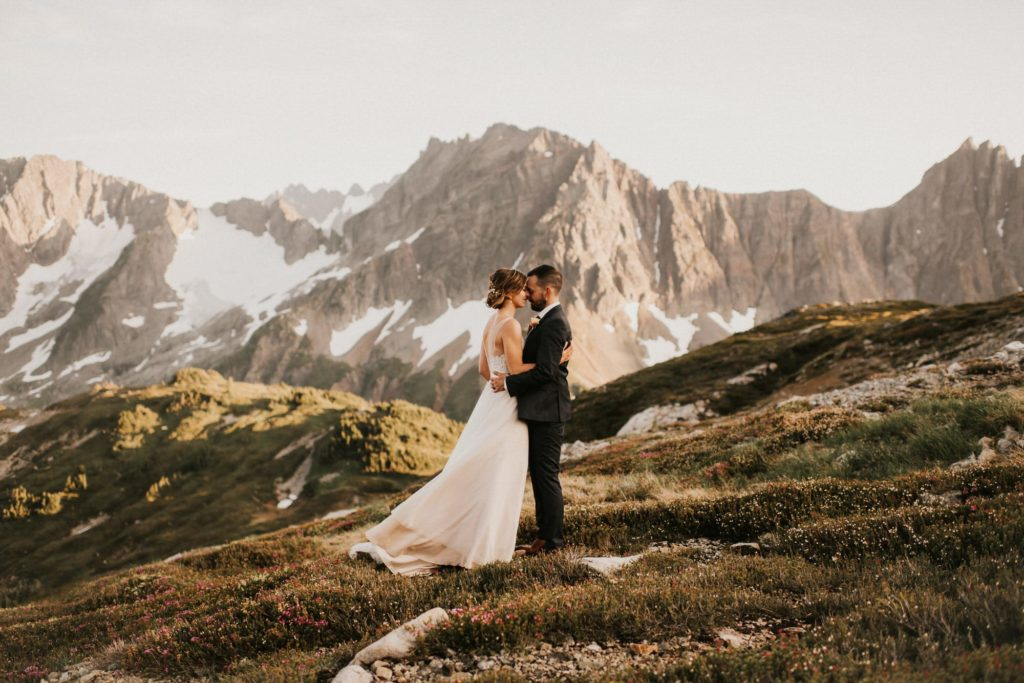 Bride and grooms photography during their north cascades adventure wedding