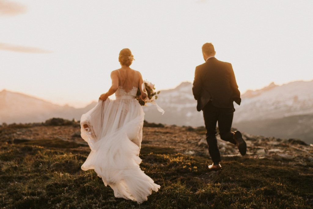 bride and groom run away to a mountain to get married