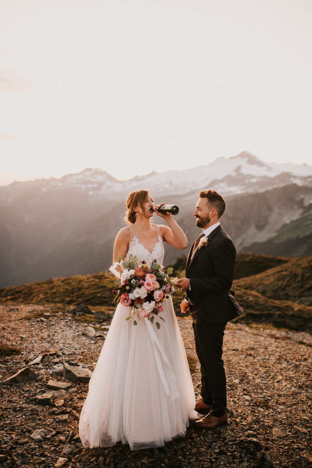 Drinking champagne in the mountains of washington