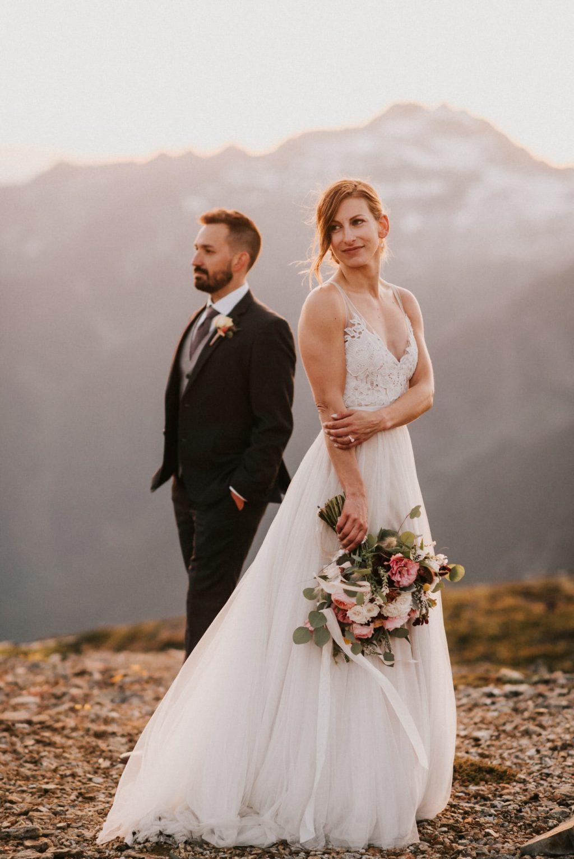 Bride and Groom mountain wedding portraits