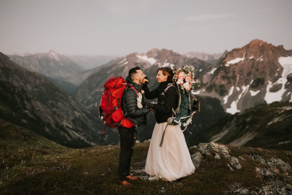 Bride and groom at the end of their adventure wedding
