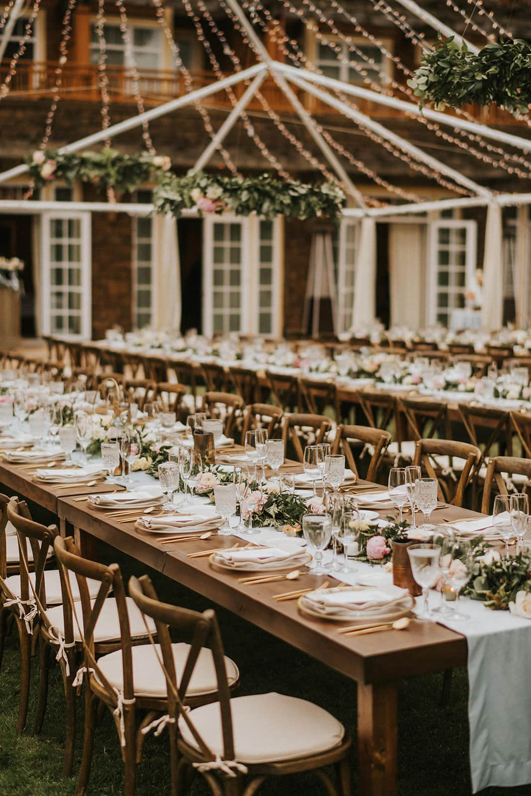 rustic outdoor boho table setup at wedding