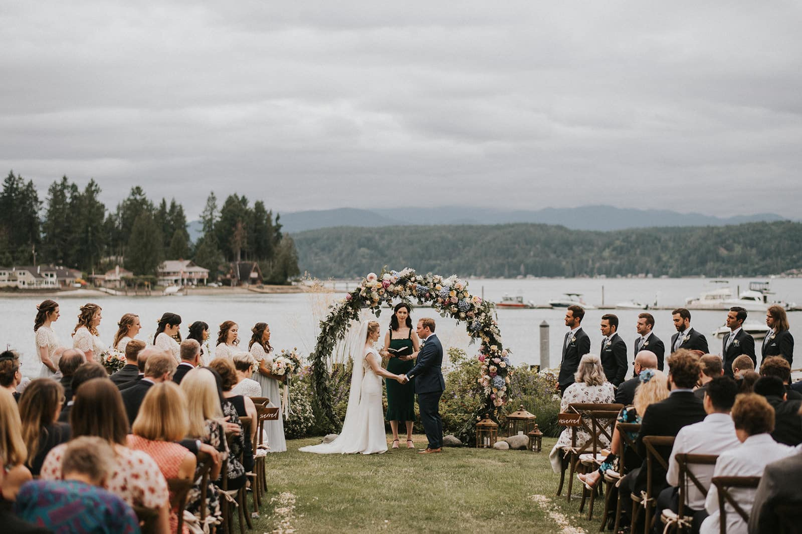 beautiful wedding ceremony at alderbrook resort