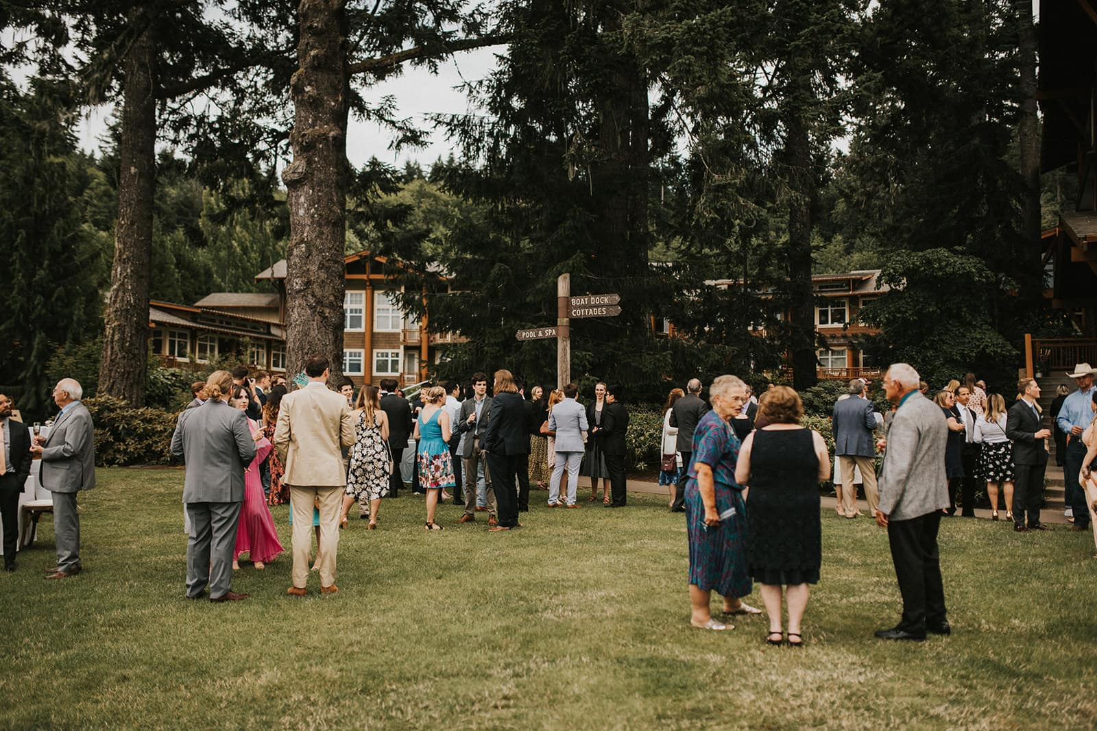 cocktail party on back lawn Alderbrook