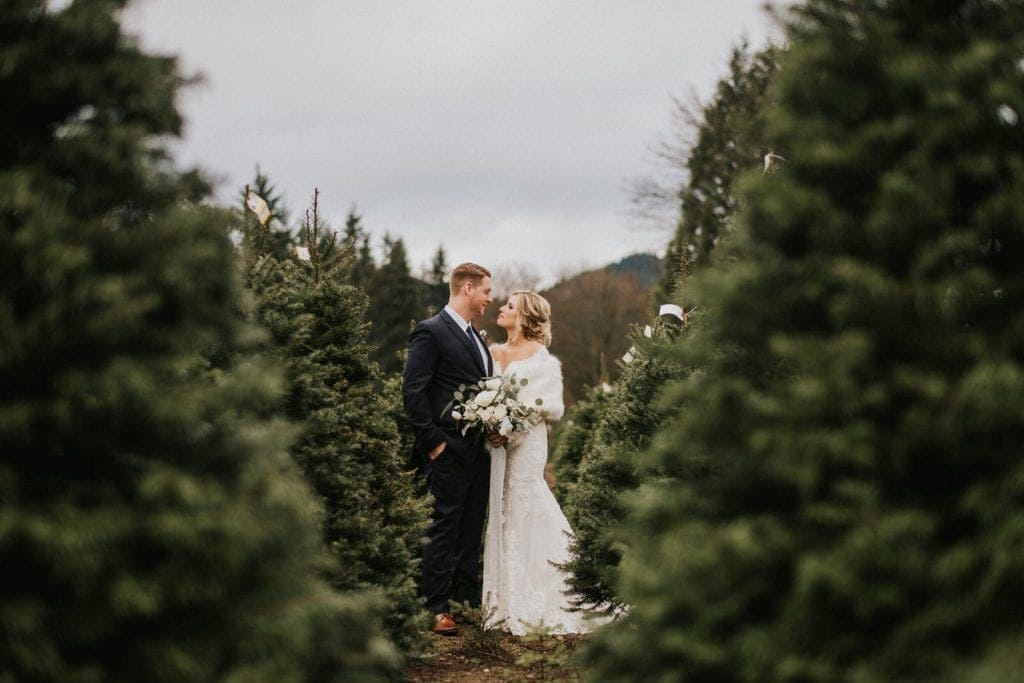 couple at one of the best seattle wedding venues trinity tree farm