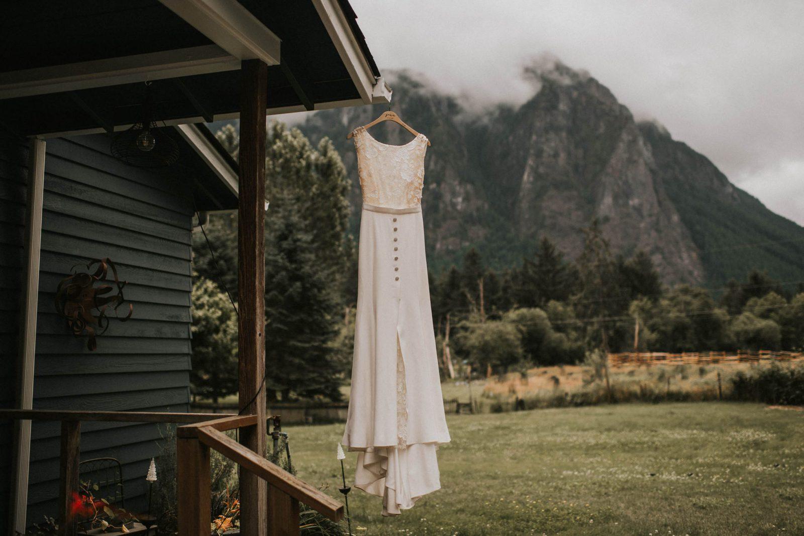 Wedding Dress hanging at Club at Snoqualmie Ridge