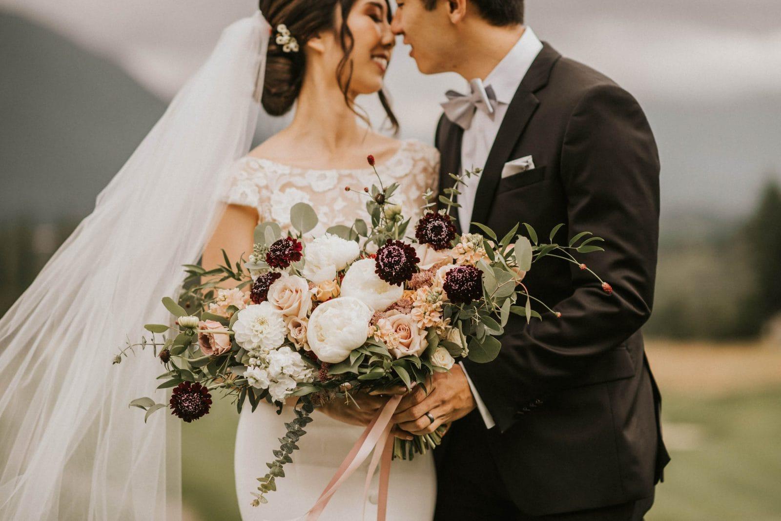 closeup of brides bouquet