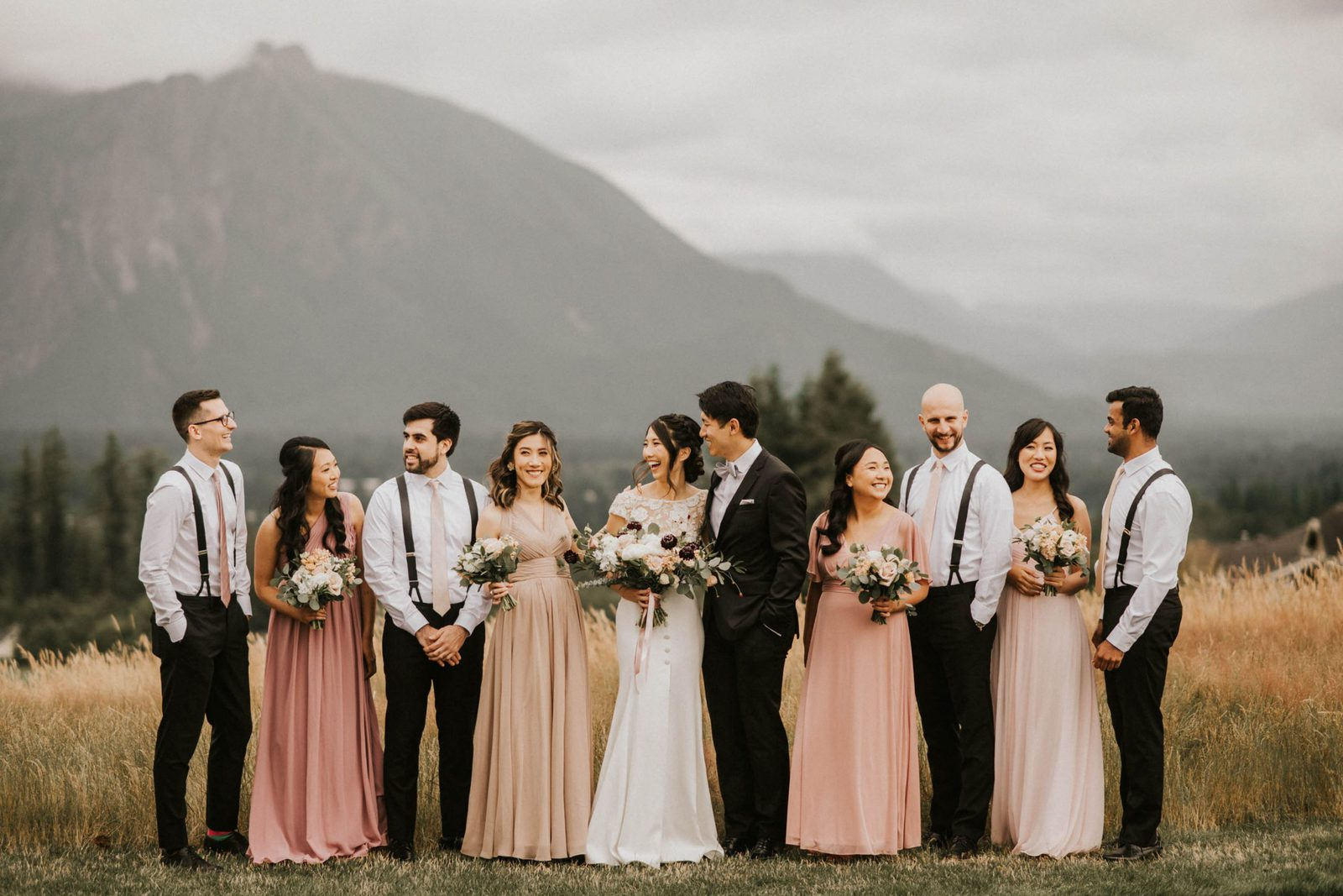 entire bridal party laughing