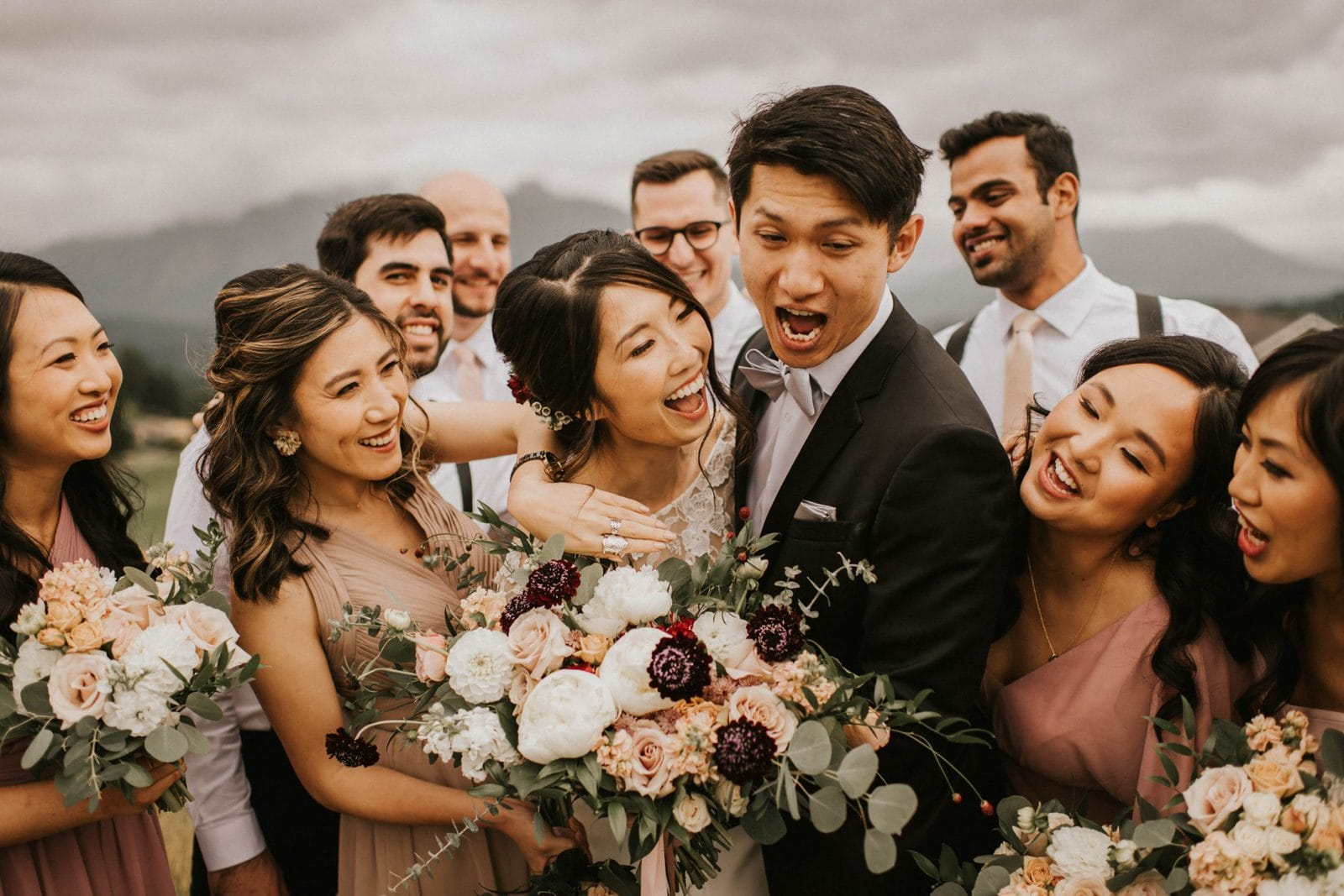 closeup of bridal party laughing