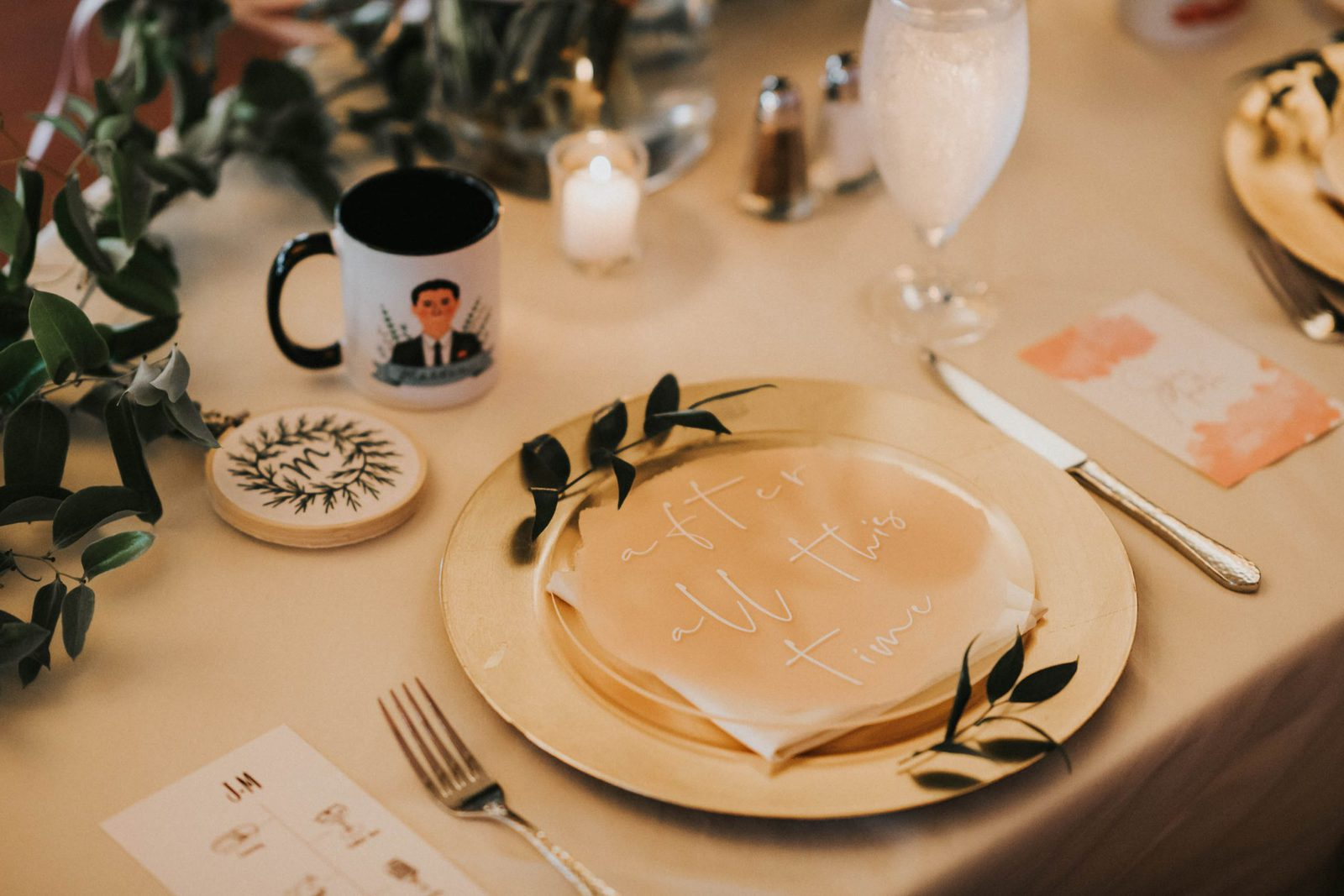 place settings at bride and groom table