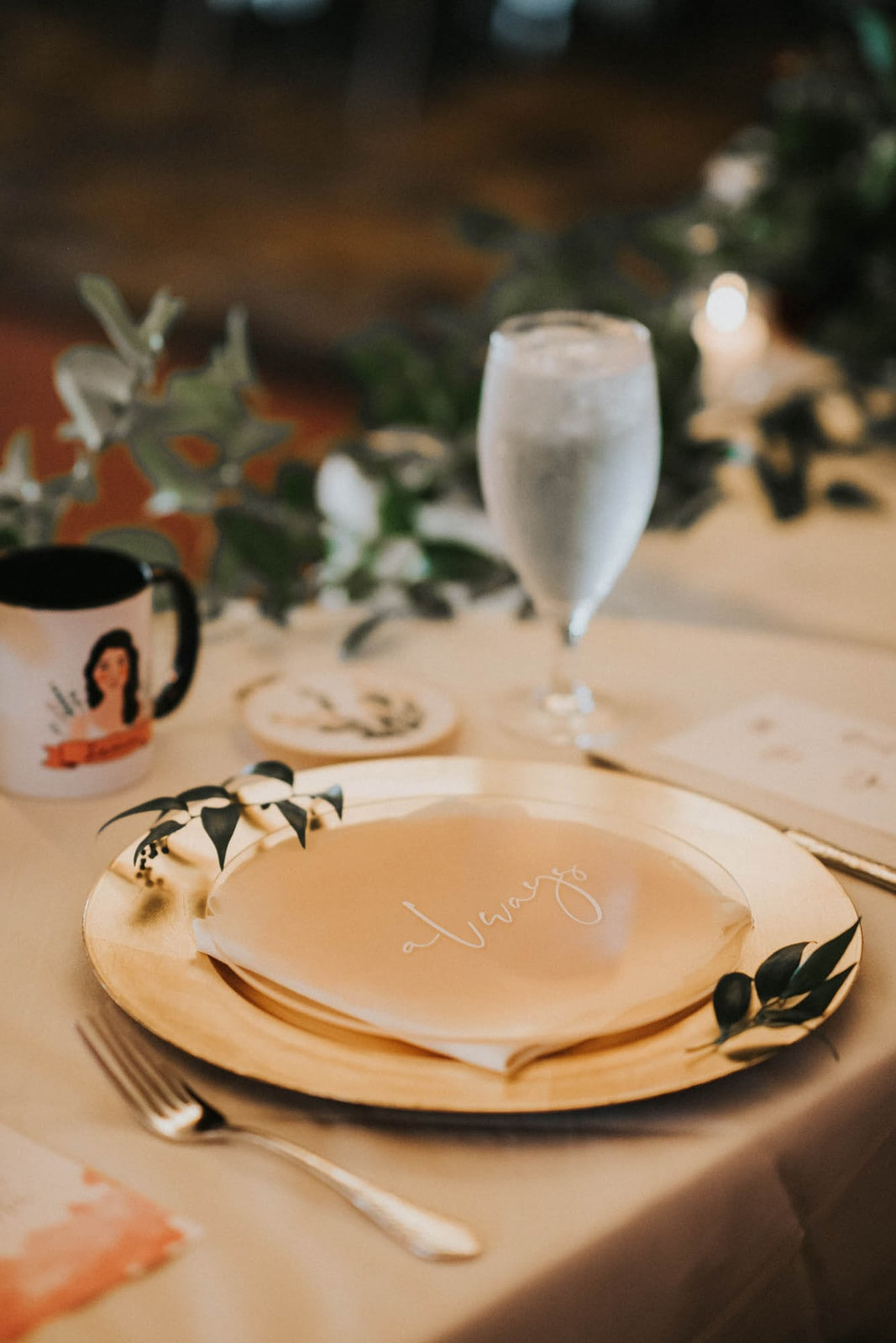 place setting at bride and groom table