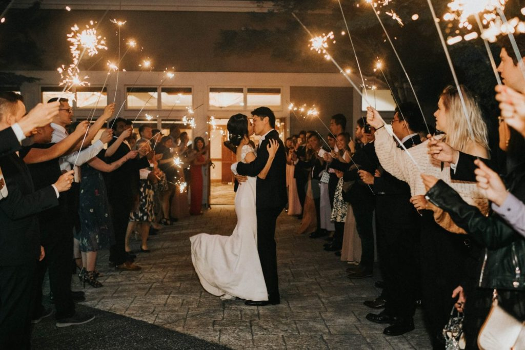 bride and groom sparkler exit at cub at snoqualmie ridge wedding