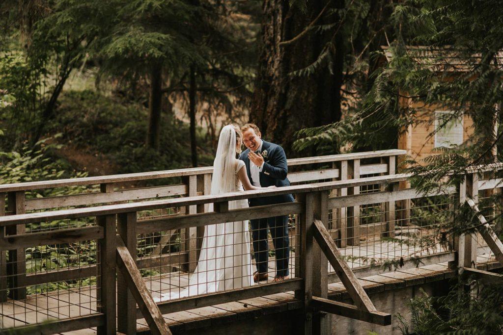 bride and groom first look at bride at alderbrook resort